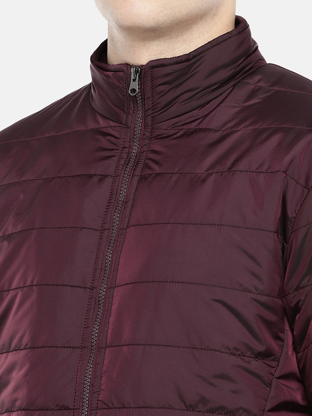 Red Solid Puffer Jacket-5