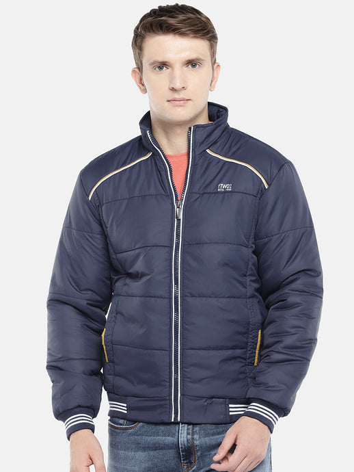 Navy Blue Solid Padded Jacket-1