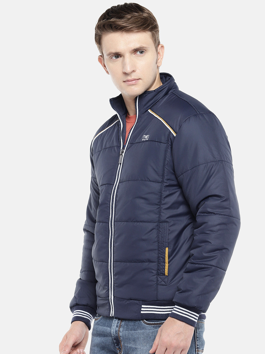 Navy Blue Solid Padded Jacket-2