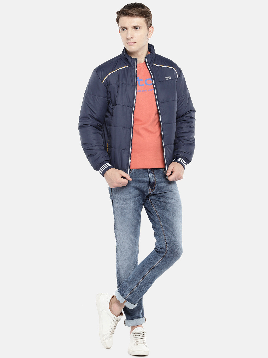 Navy Blue Solid Padded Jacket-4
