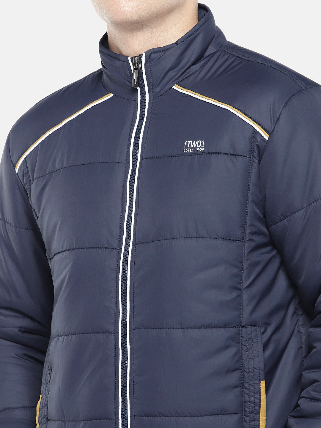 Navy Blue Solid Padded Jacket-5