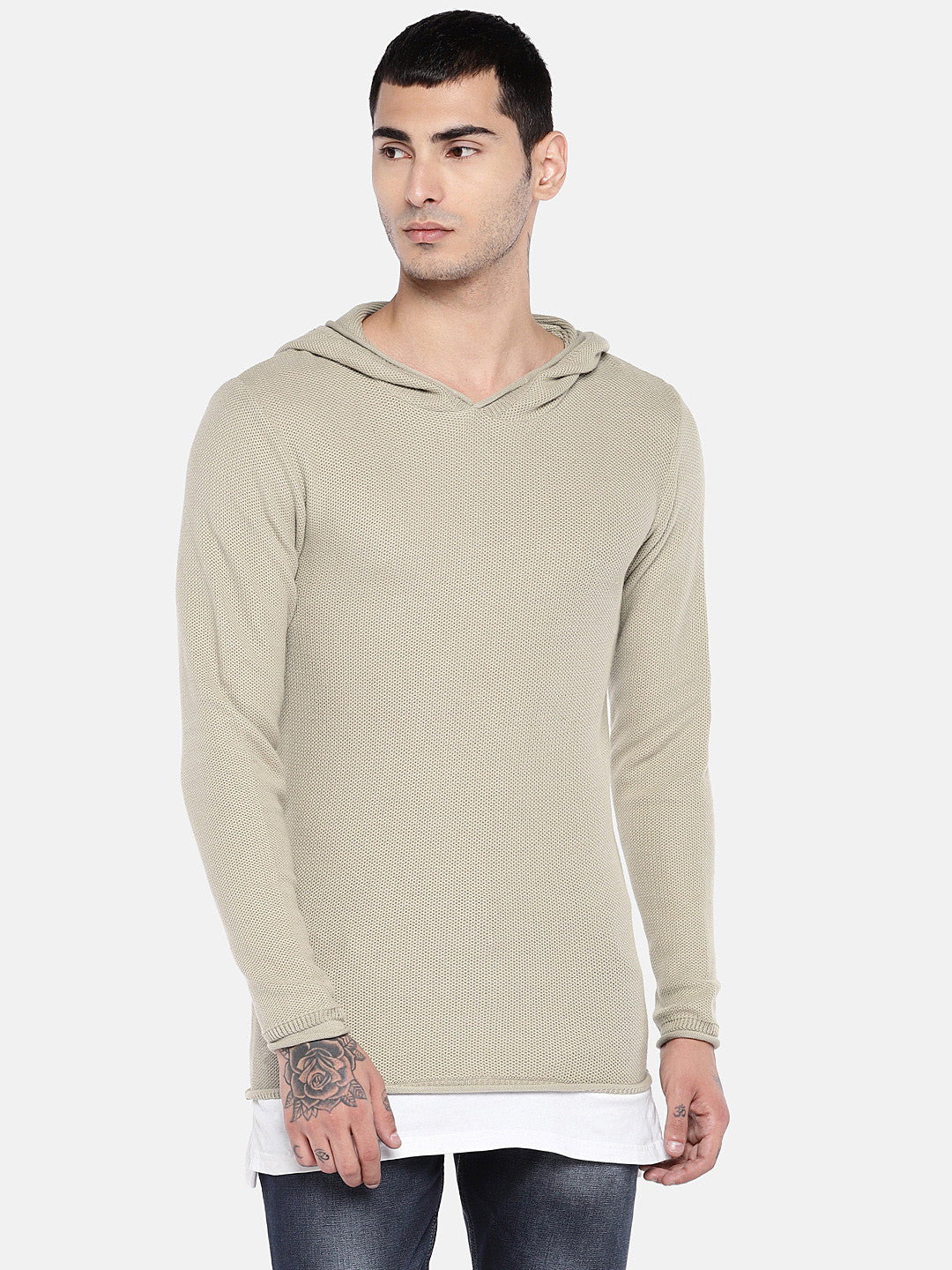 Beige Solid Sweater-1