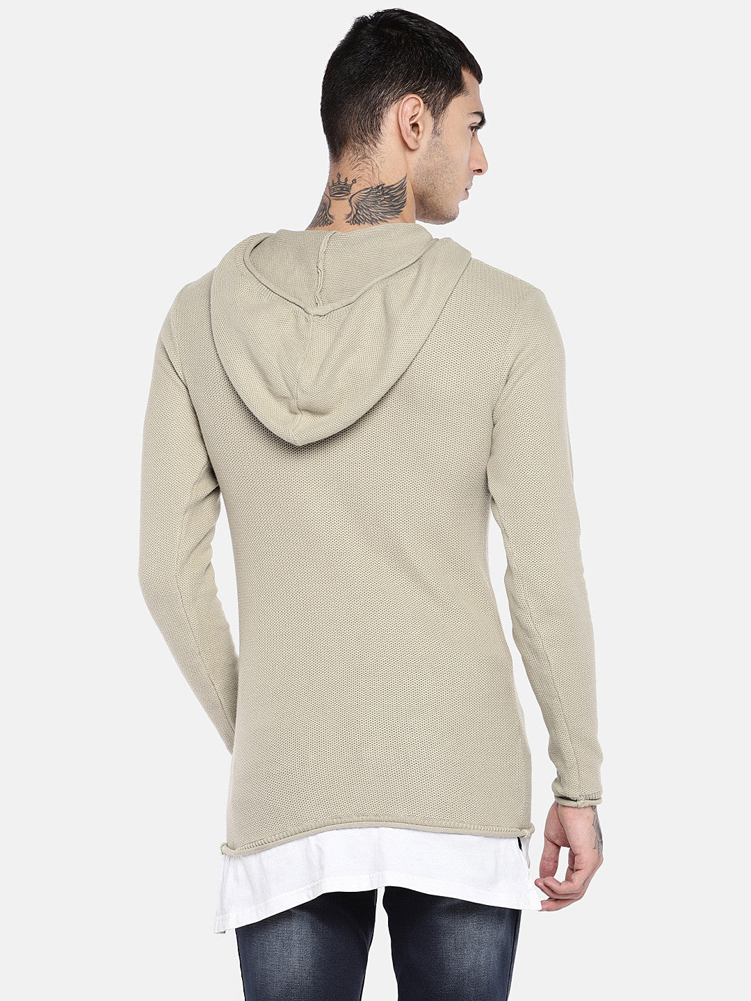 Beige Solid Sweater-3