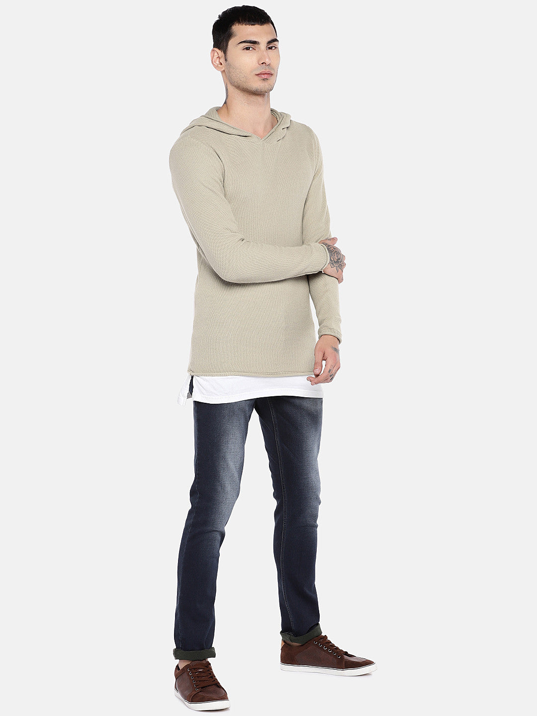 Beige Solid Sweater-4