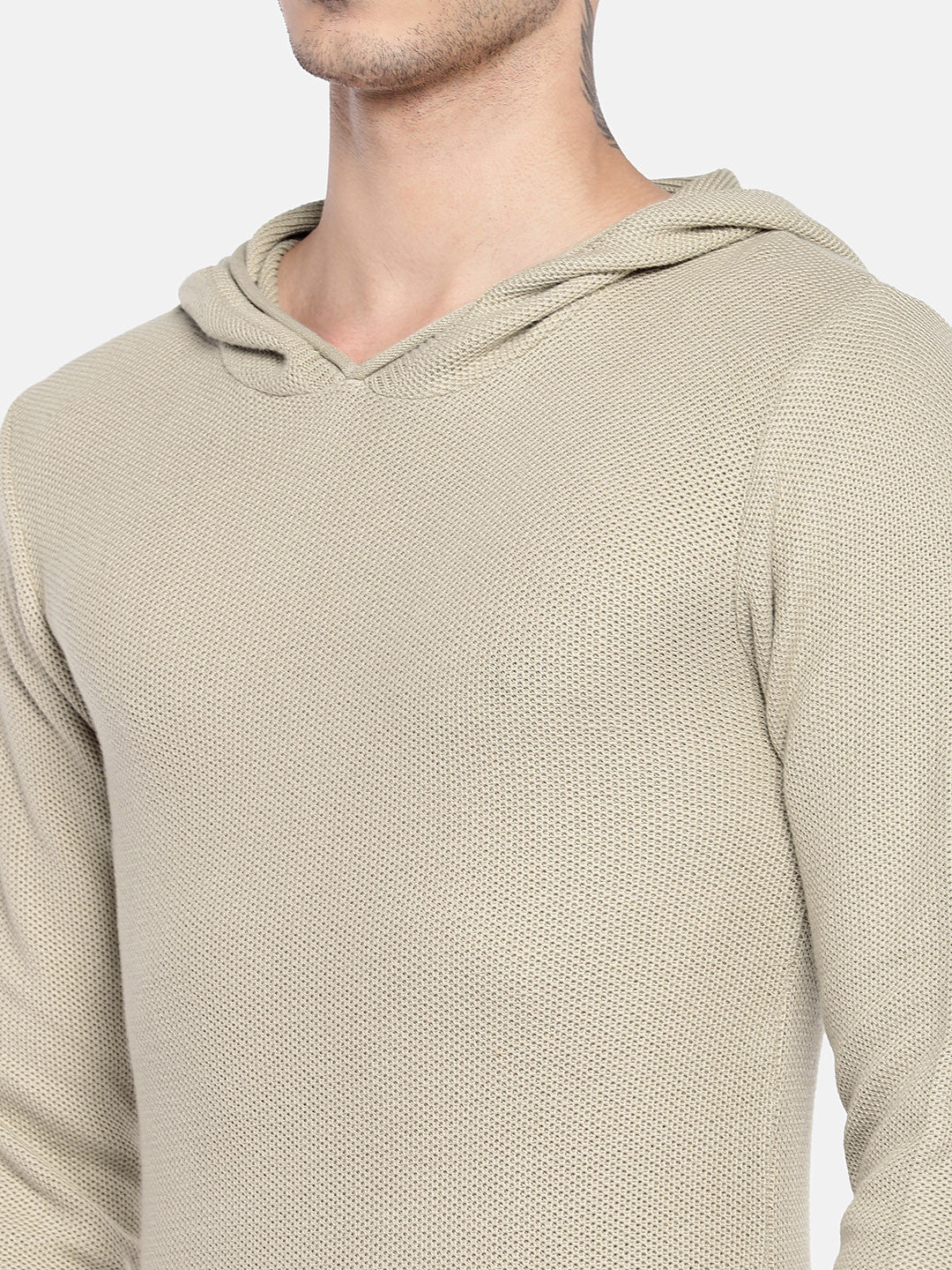 Beige Solid Sweater-5