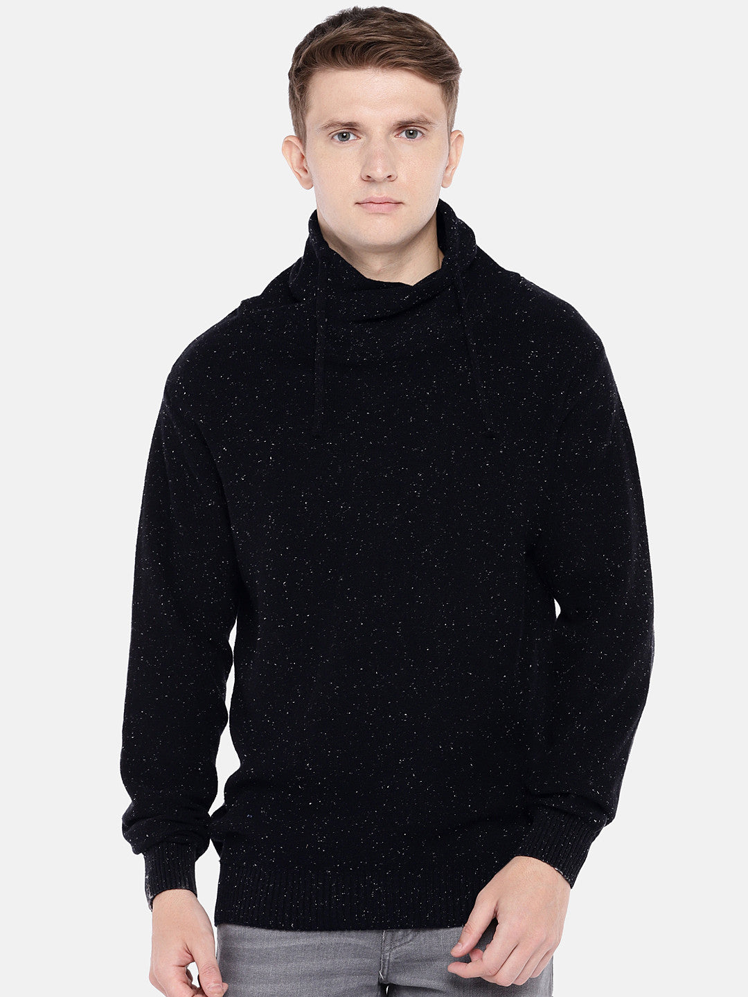 Black Self Design Sweater-1