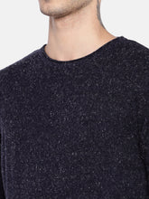 Load image into Gallery viewer, Navy Blue Self Design Speckled Sweater-5