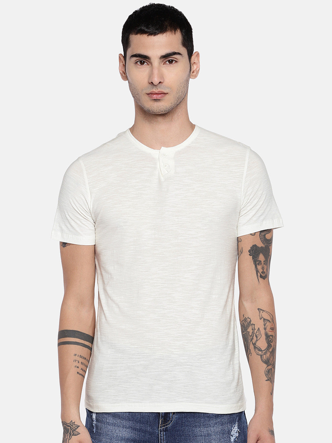 Off-White Solid Henley Neck T-shirt-1