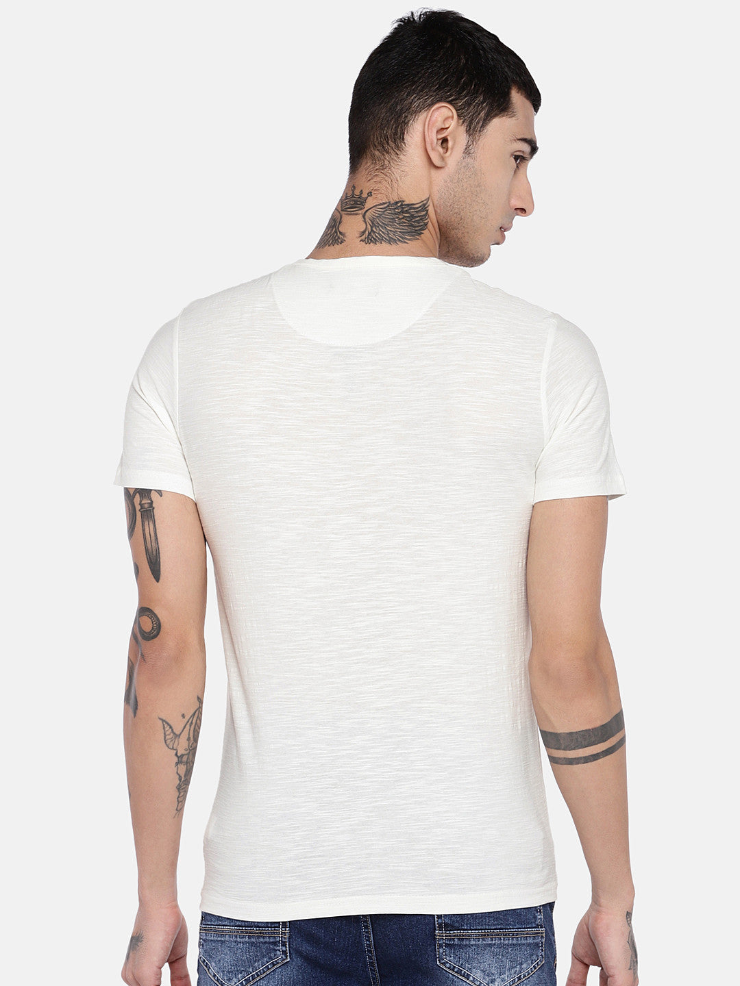 Off-White Solid Henley Neck T-shirt-3