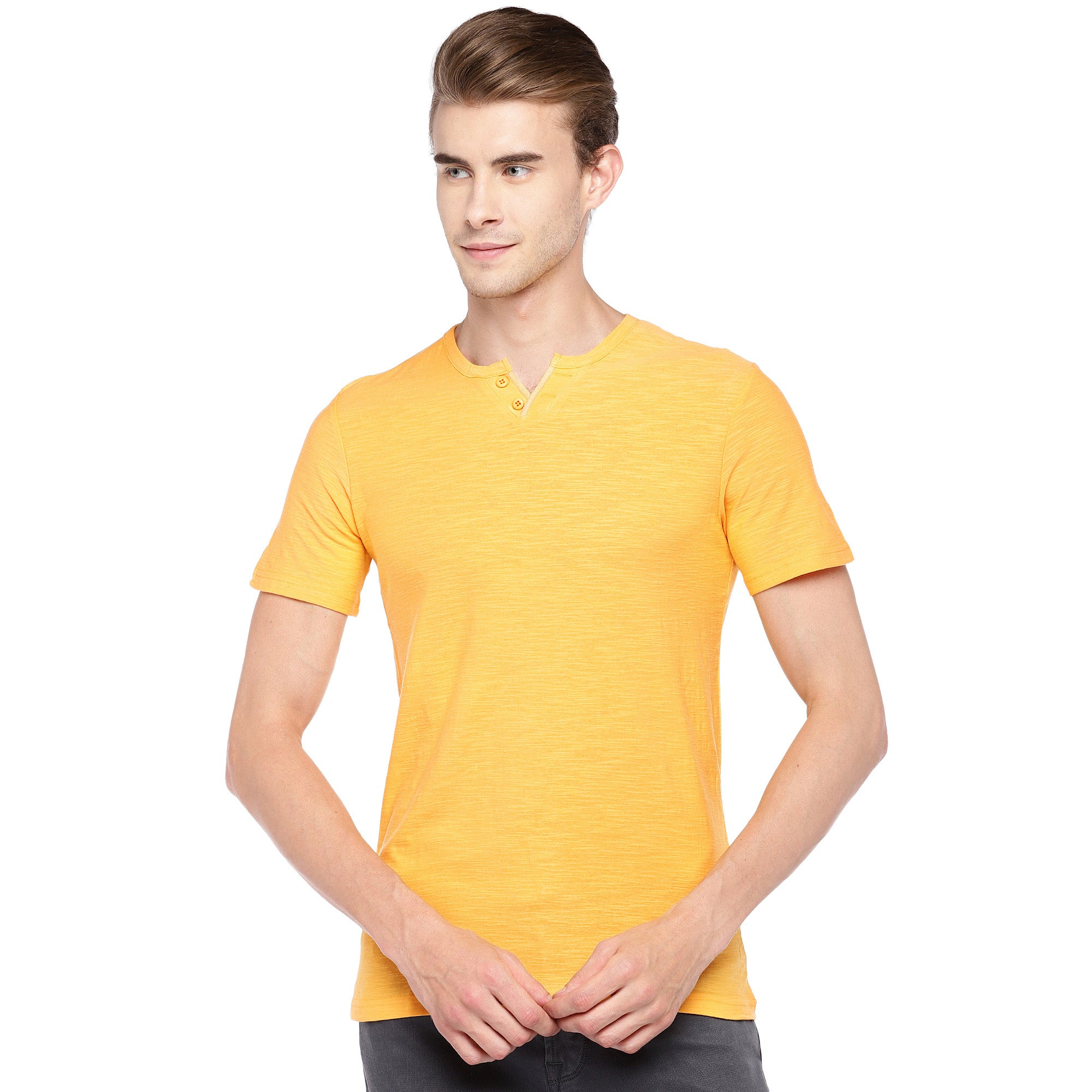 Yellow Solid Henley Neck T-shirt-1