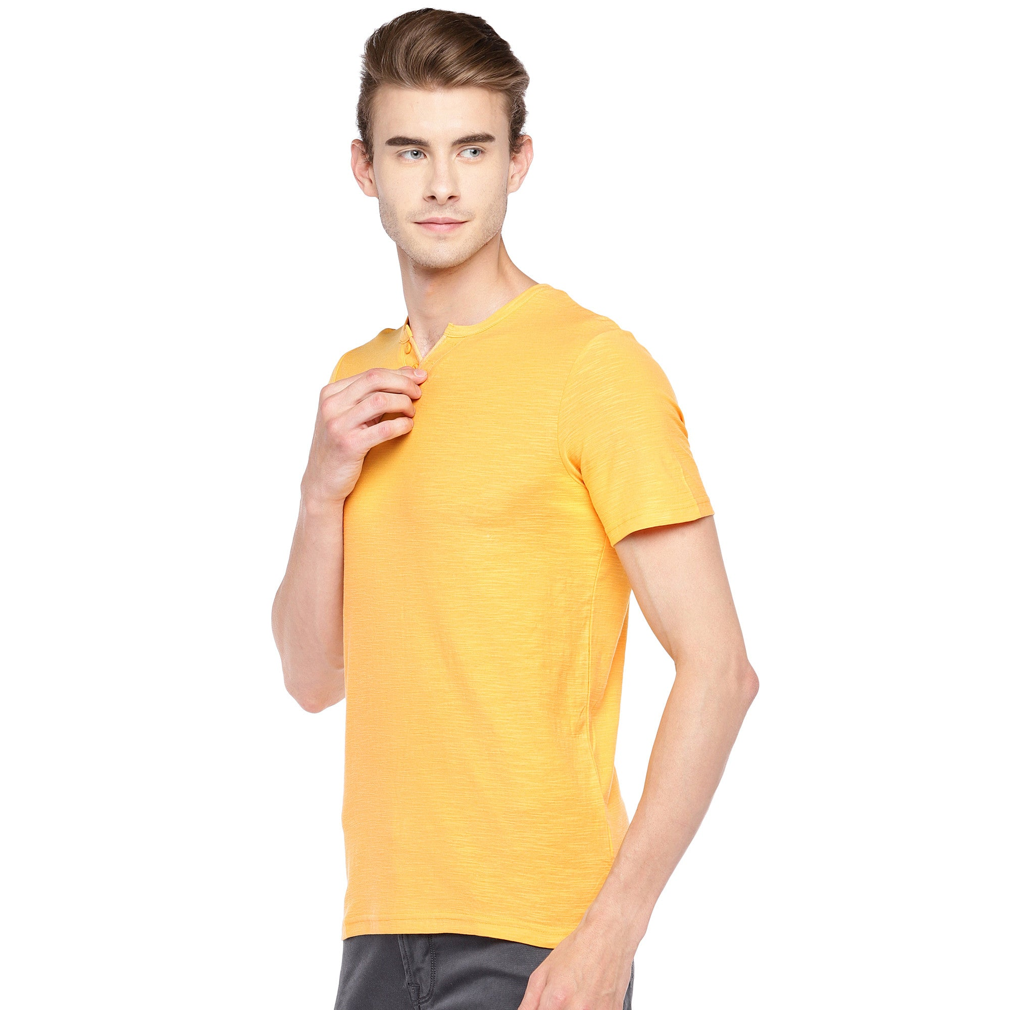 Yellow Solid Henley Neck T-shirt-2
