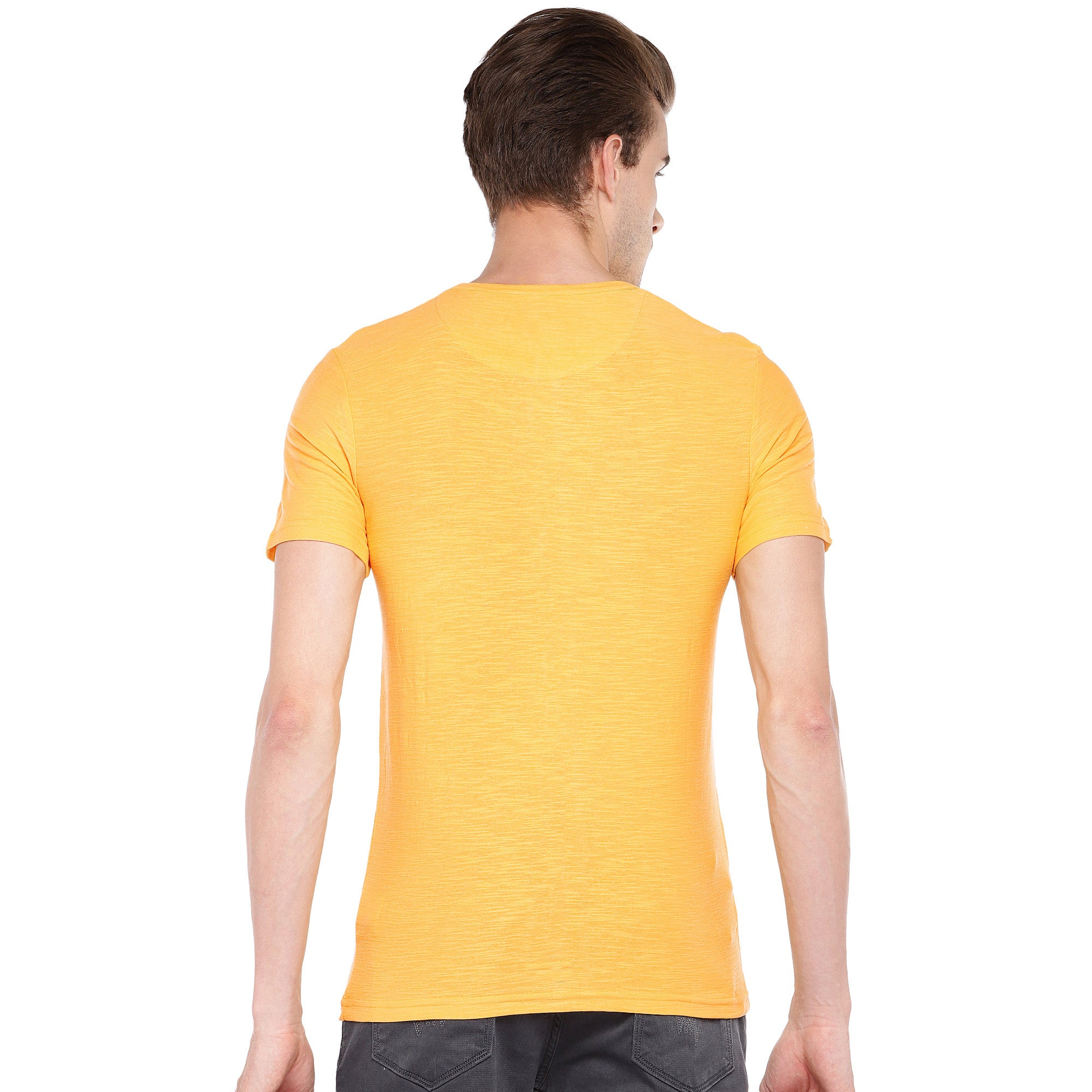 Yellow Solid Henley Neck T-shirt-3