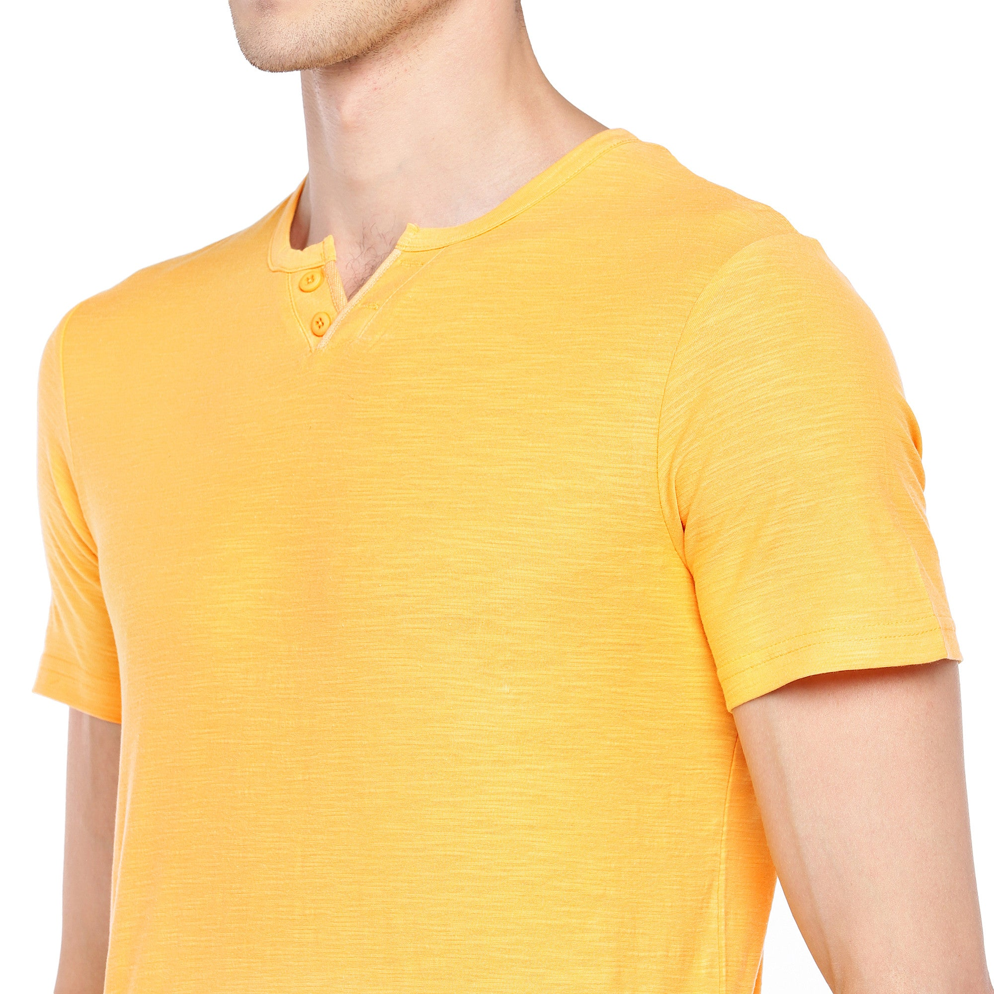 Yellow Solid Henley Neck T-shirt-5