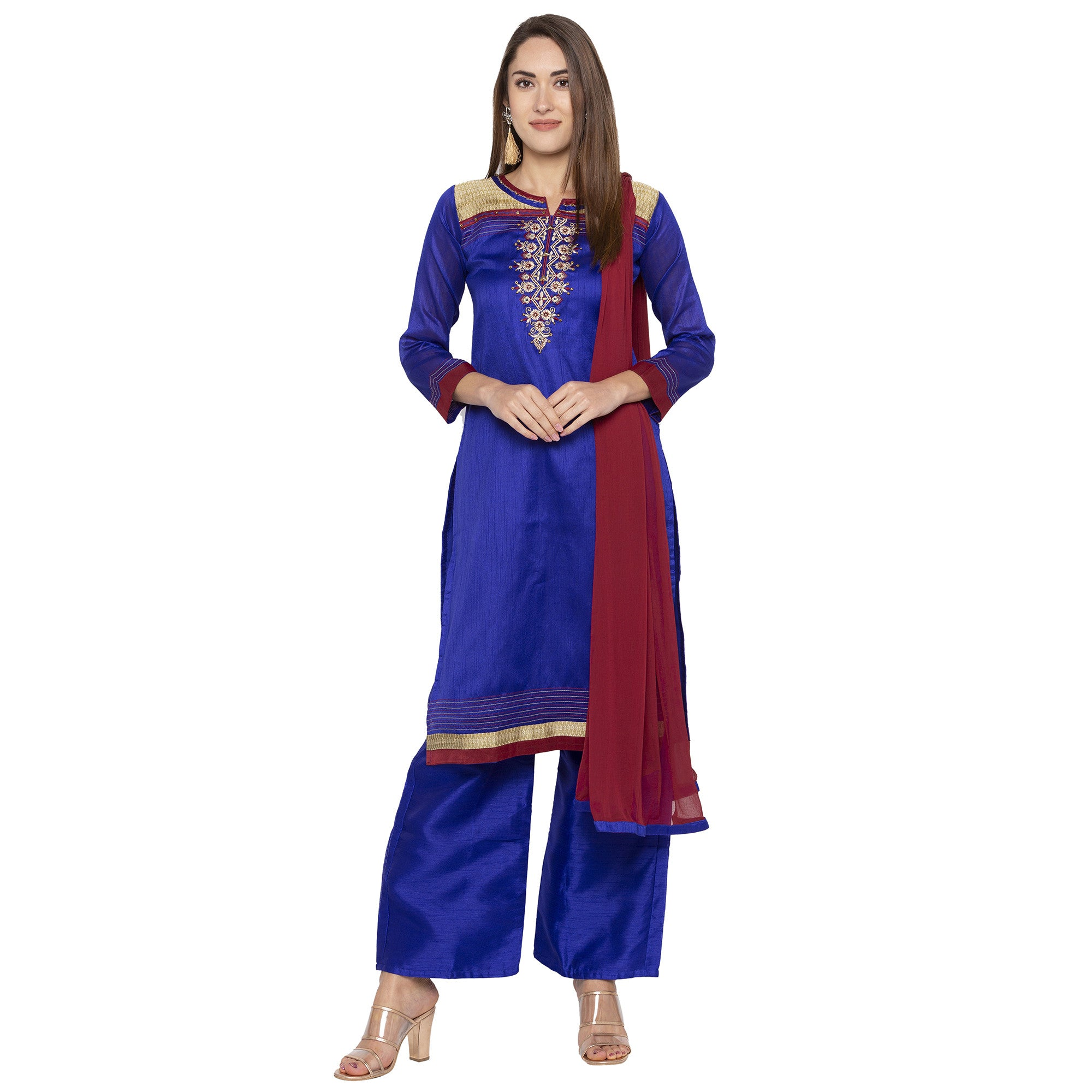 Blue Color Embroidered Salwar and Dupatta-1