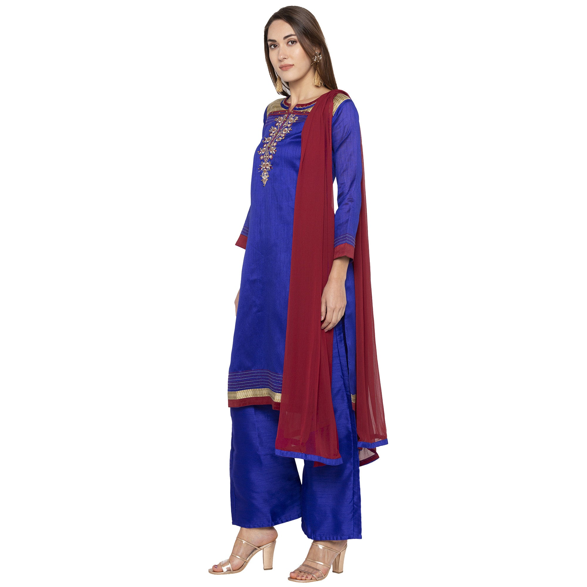 Blue Color Embroidered Salwar and Dupatta-2