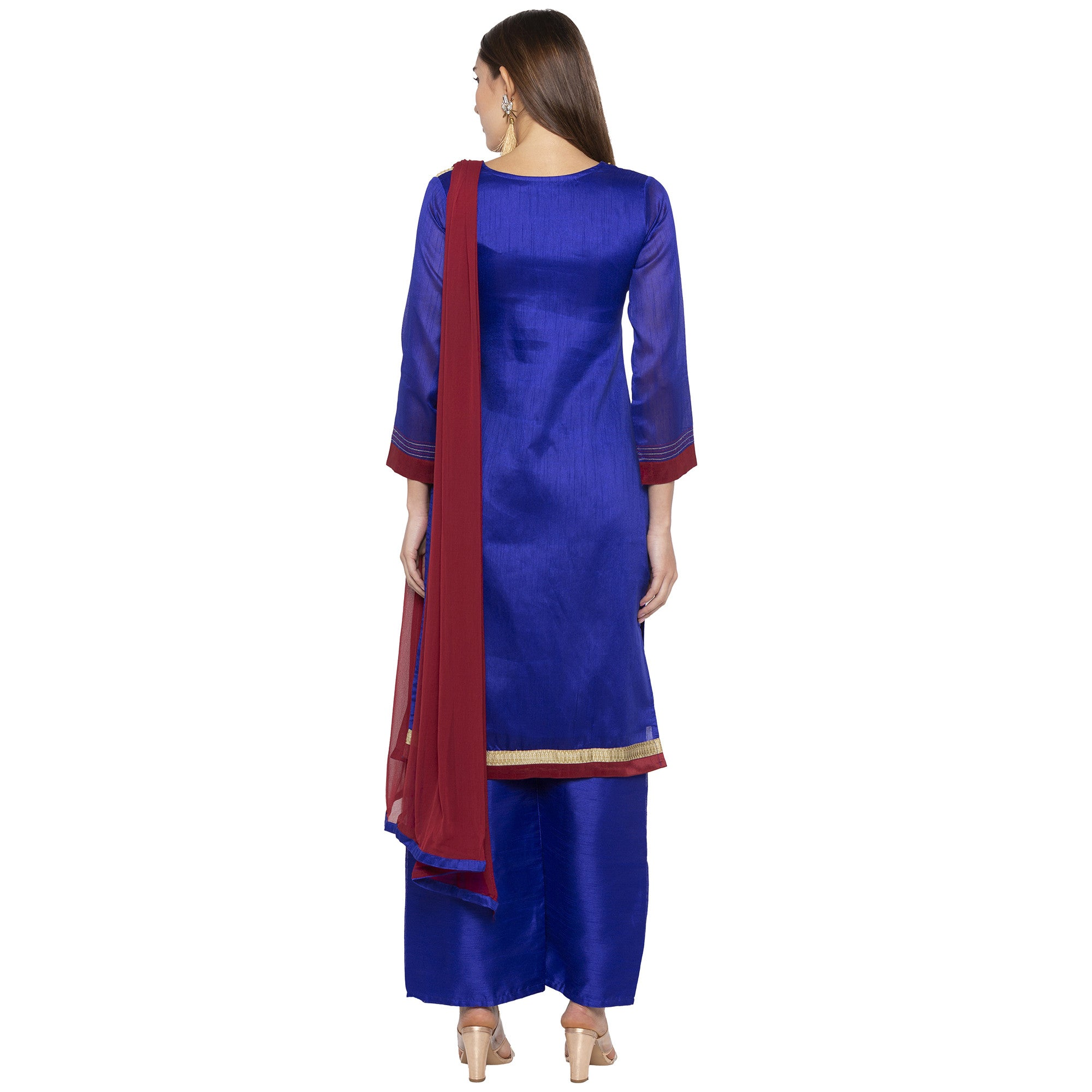 Blue Color Embroidered Salwar and Dupatta-3