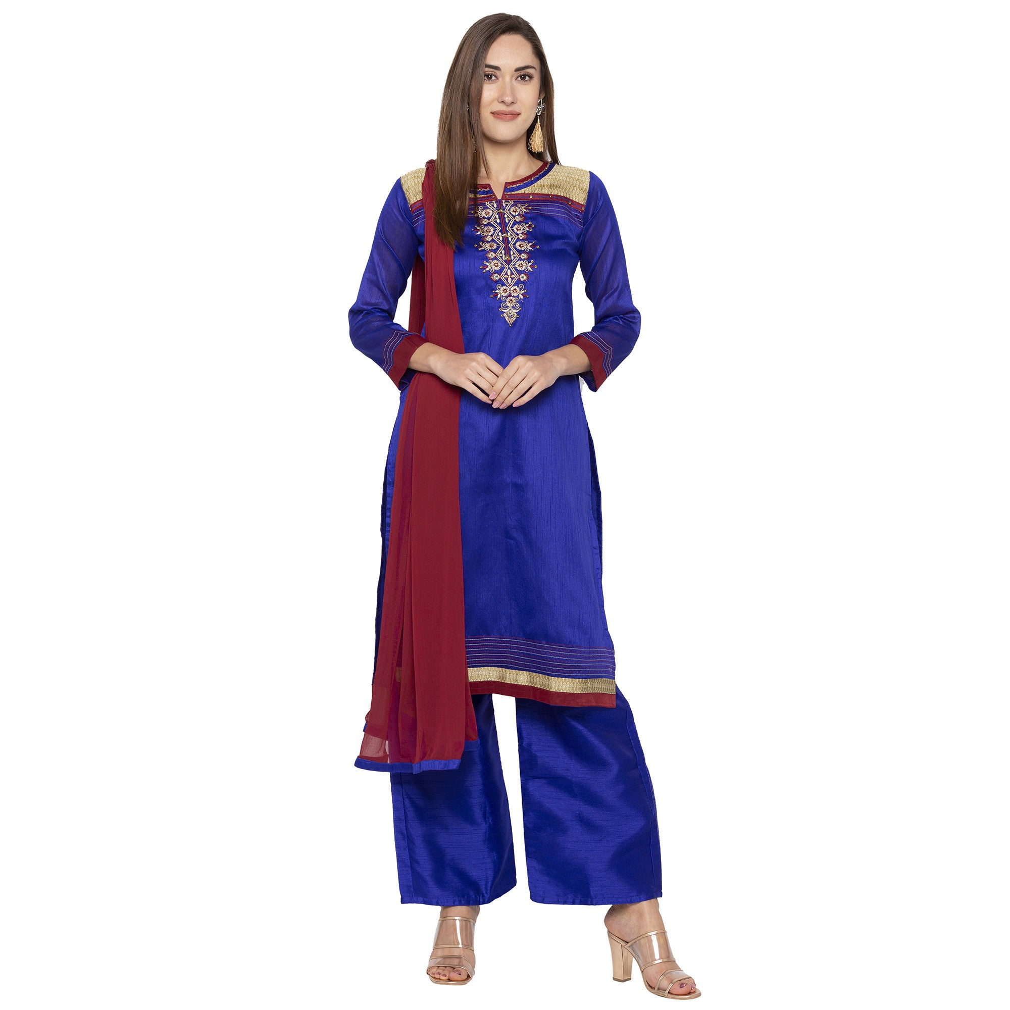 Blue Color Embroidered Salwar and Dupatta-4