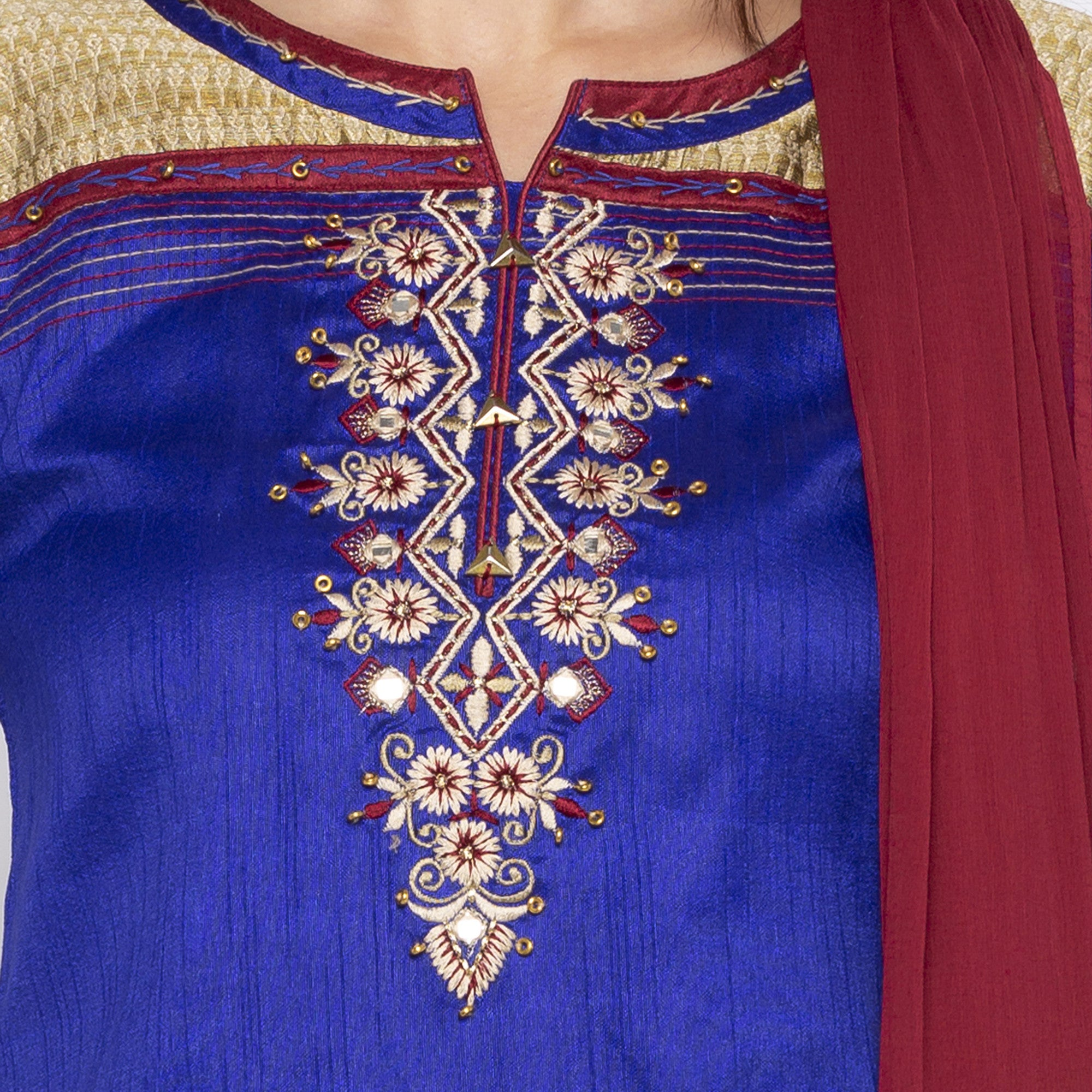 Blue Color Embroidered Salwar and Dupatta-5