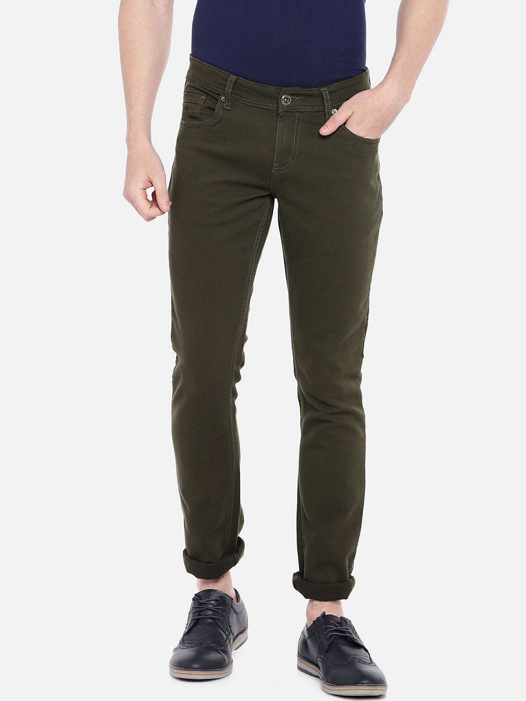 Olive Green Regular Fit Solid Chinos-1