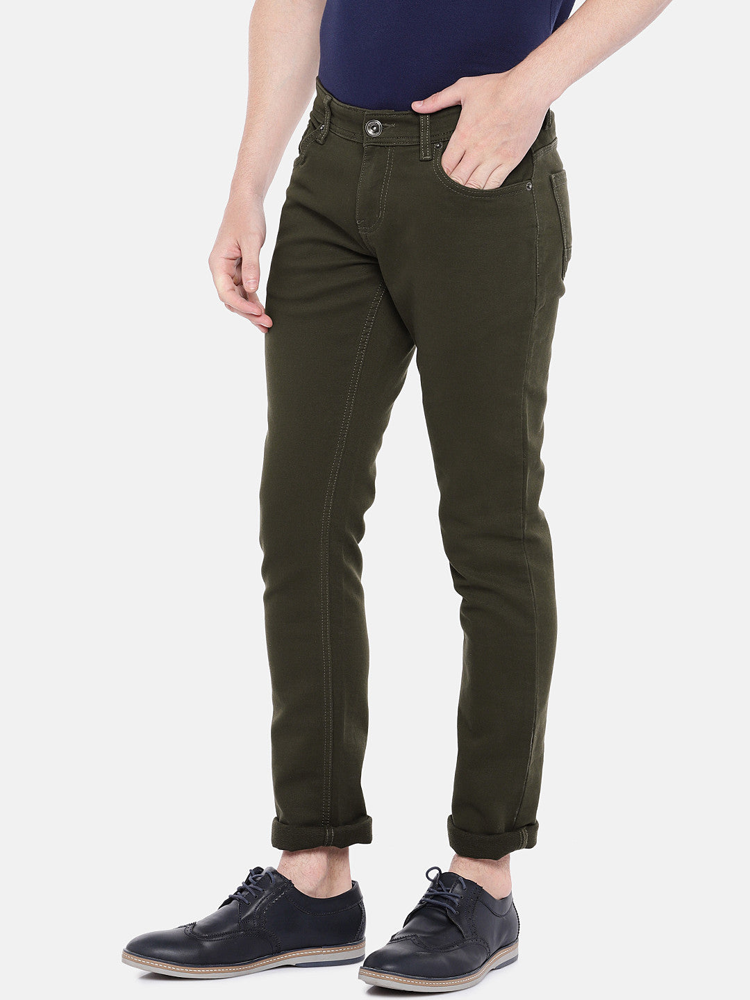 Olive Green Regular Fit Solid Chinos-2