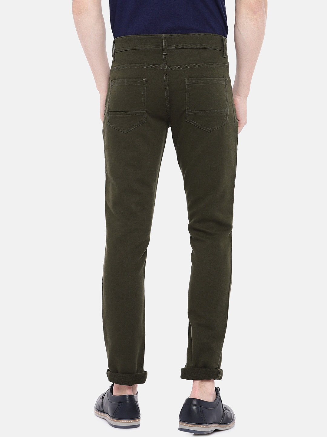 Olive Green Regular Fit Solid Chinos-3