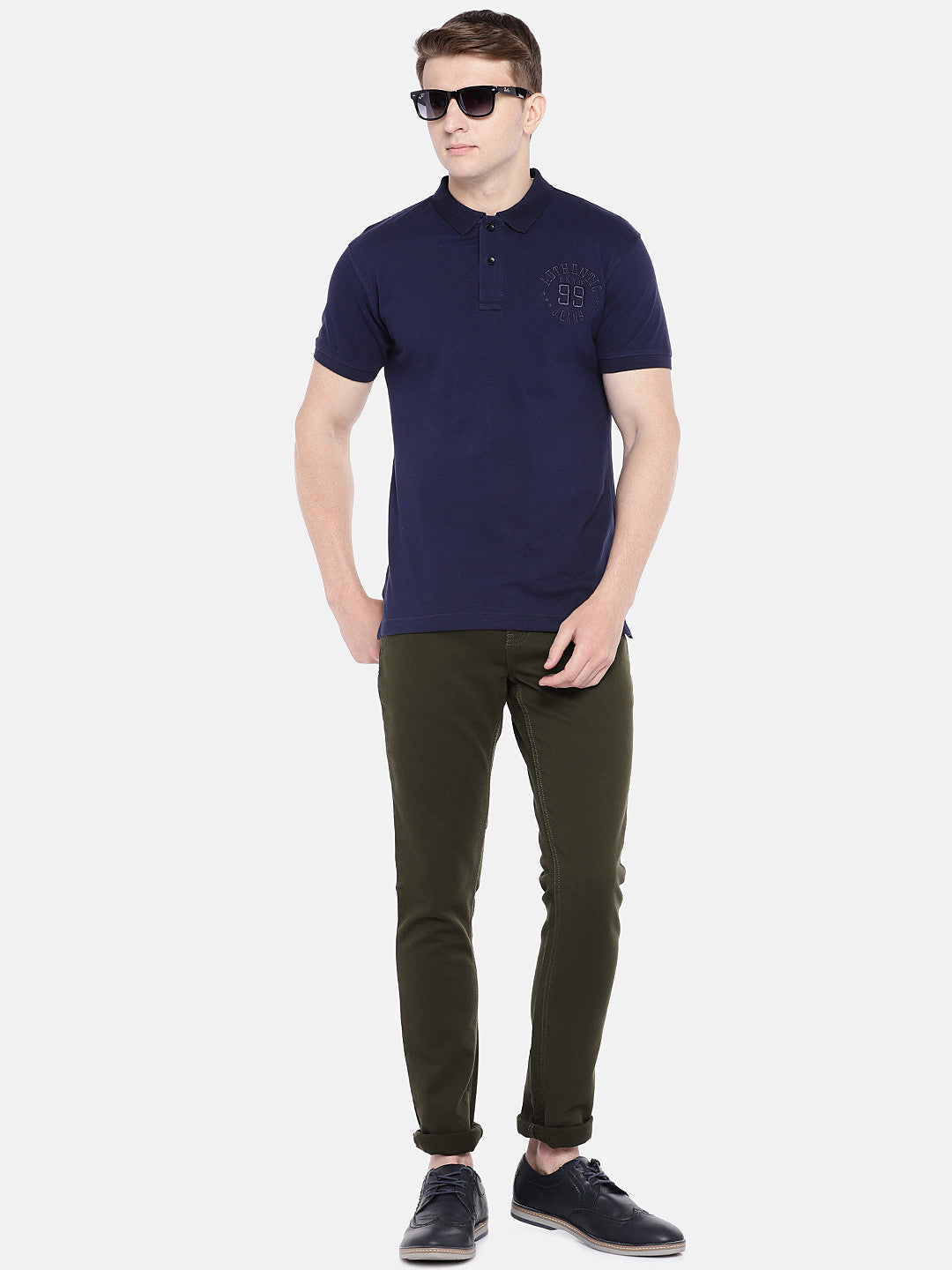 Olive Green Regular Fit Solid Chinos-4