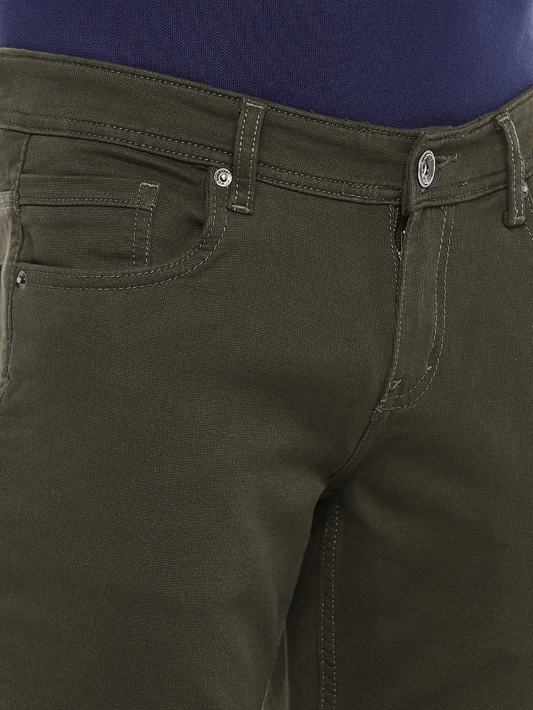Olive Green Regular Fit Solid Chinos-5