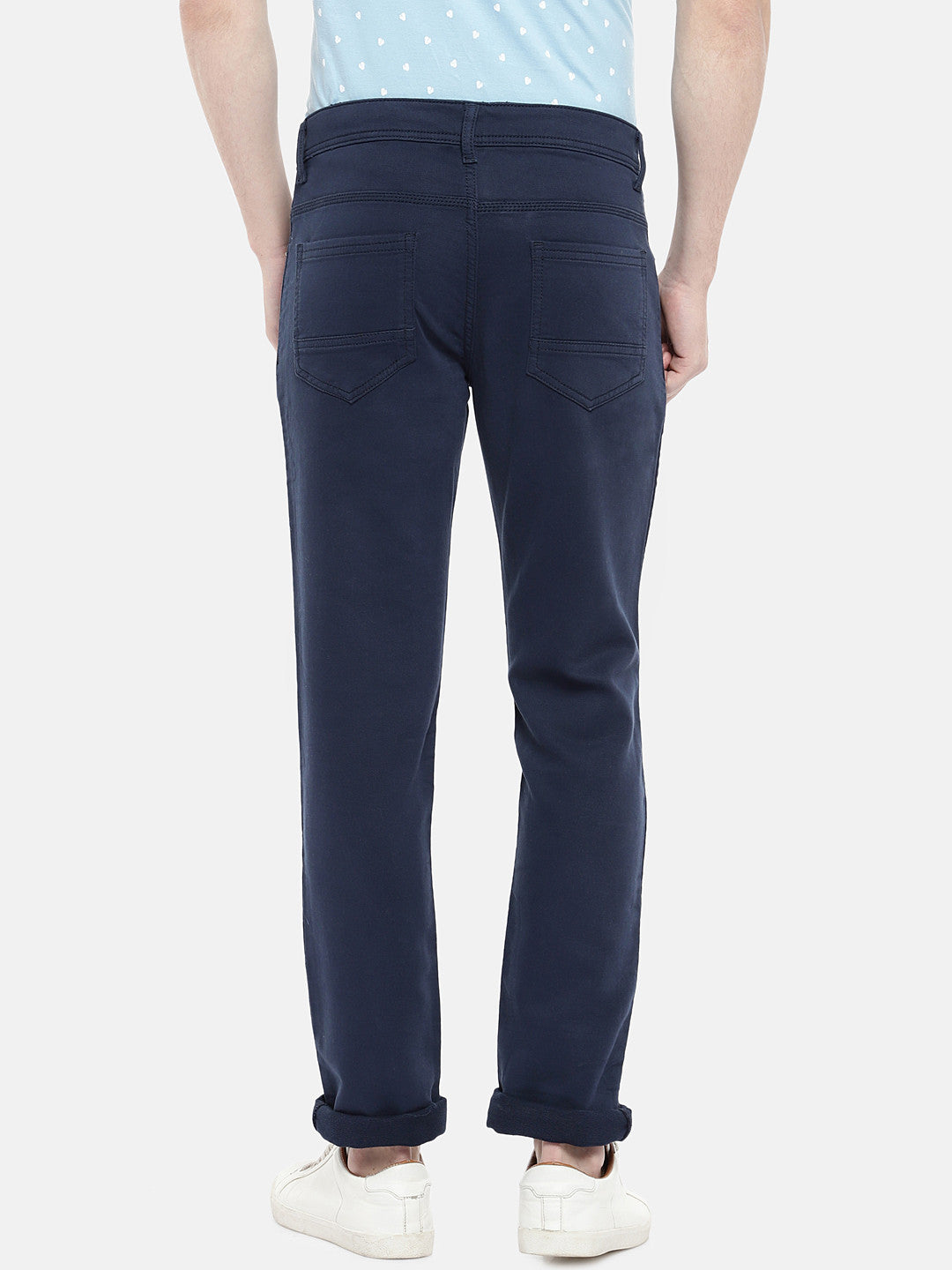 Navy Blue Regular Fit Solid Regular Trousers-3