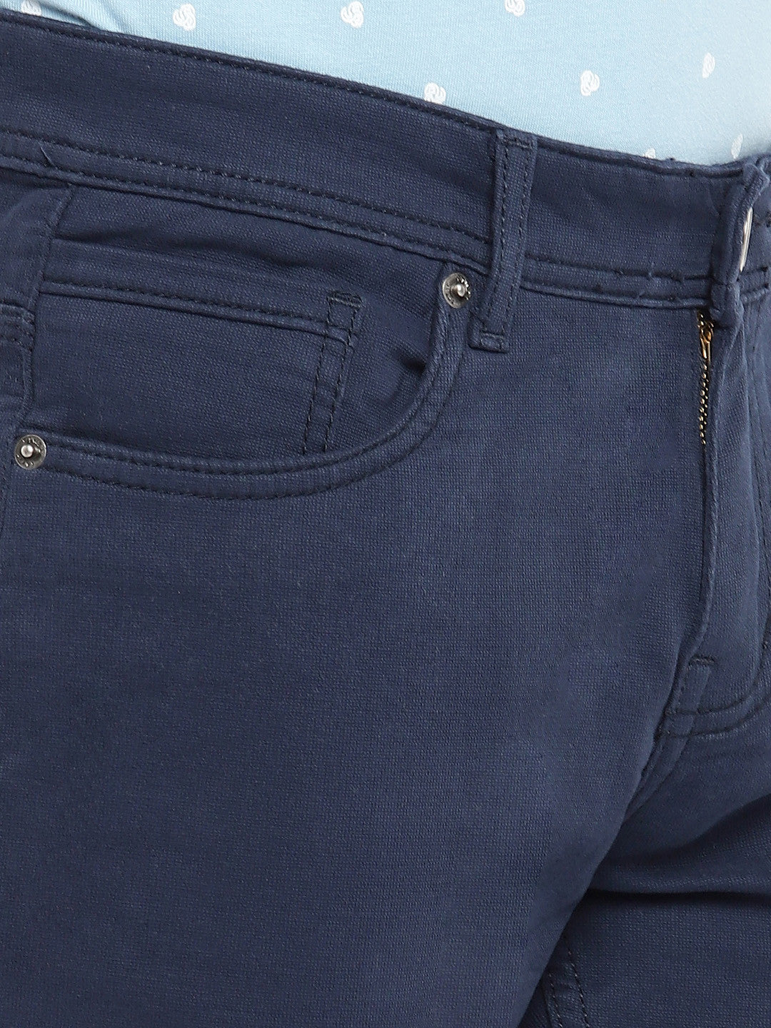 Navy Blue Regular Fit Solid Regular Trousers-5