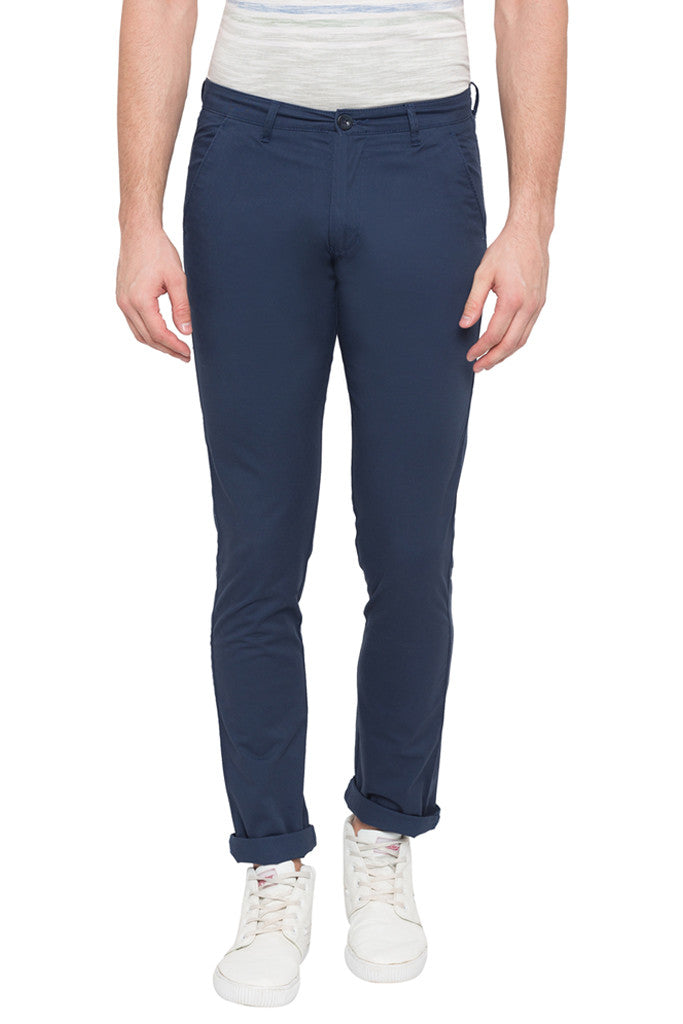 Solid Slim Fit Casual Pants-1