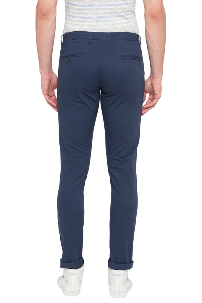 Solid Slim Fit Casual Pants-3