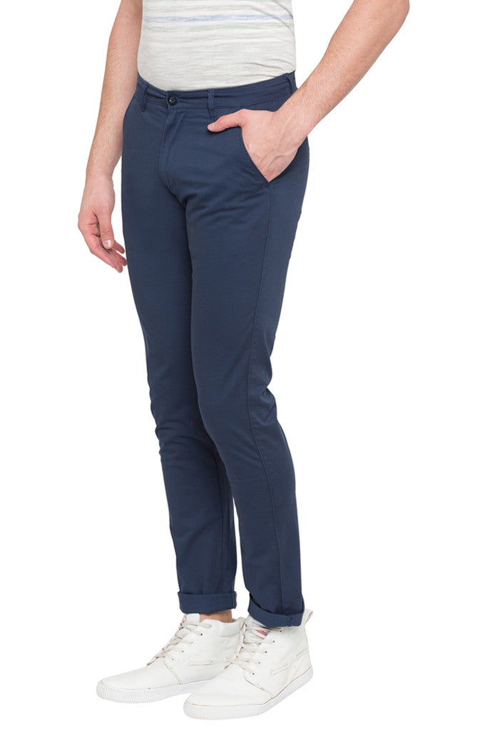 Solid Slim Fit Casual Pants-4