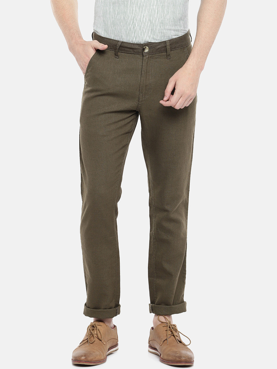 Olive Green Regular Fit Solid Regular Trousers-1