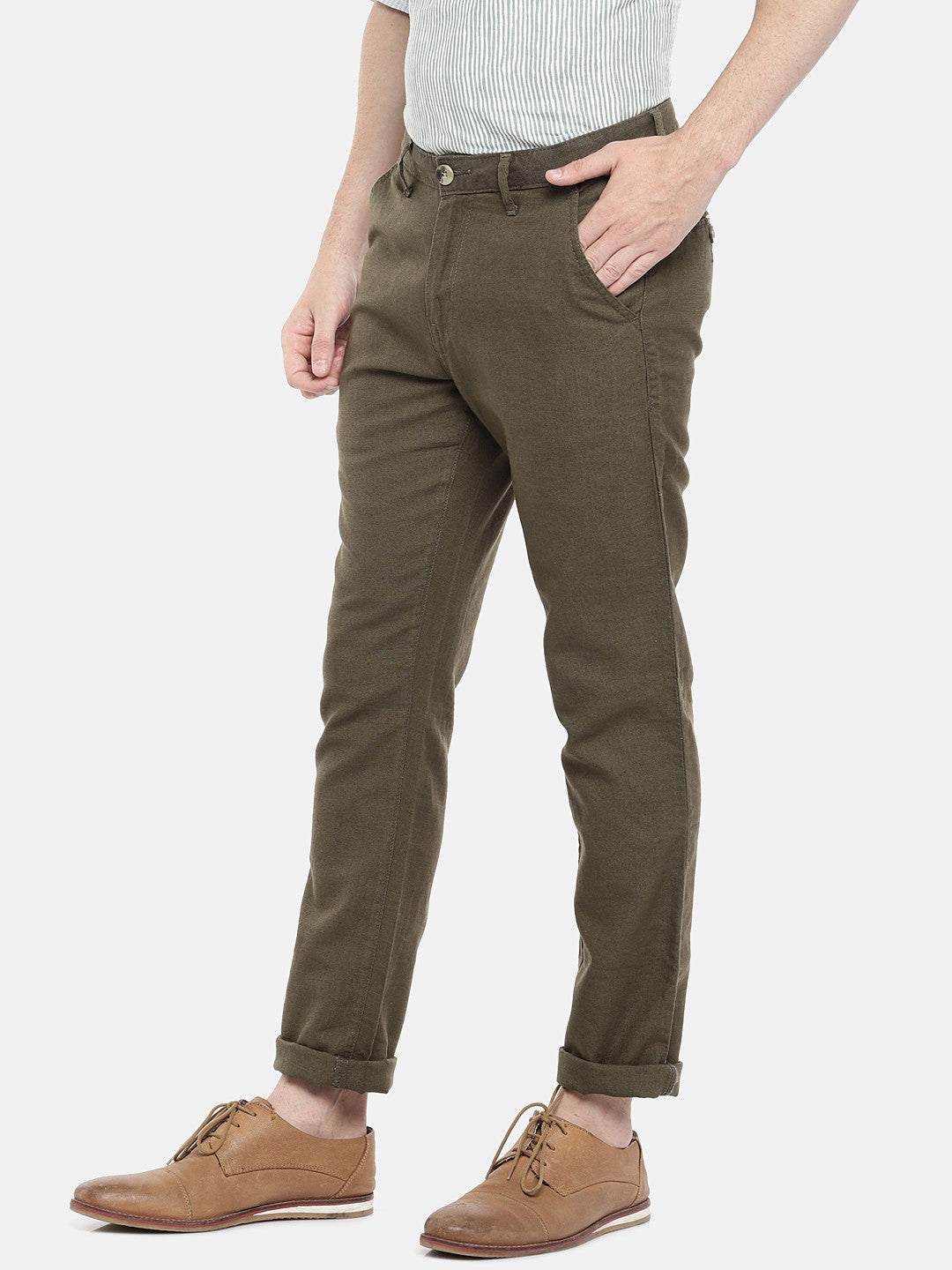 Olive Green Regular Fit Solid Regular Trousers-2
