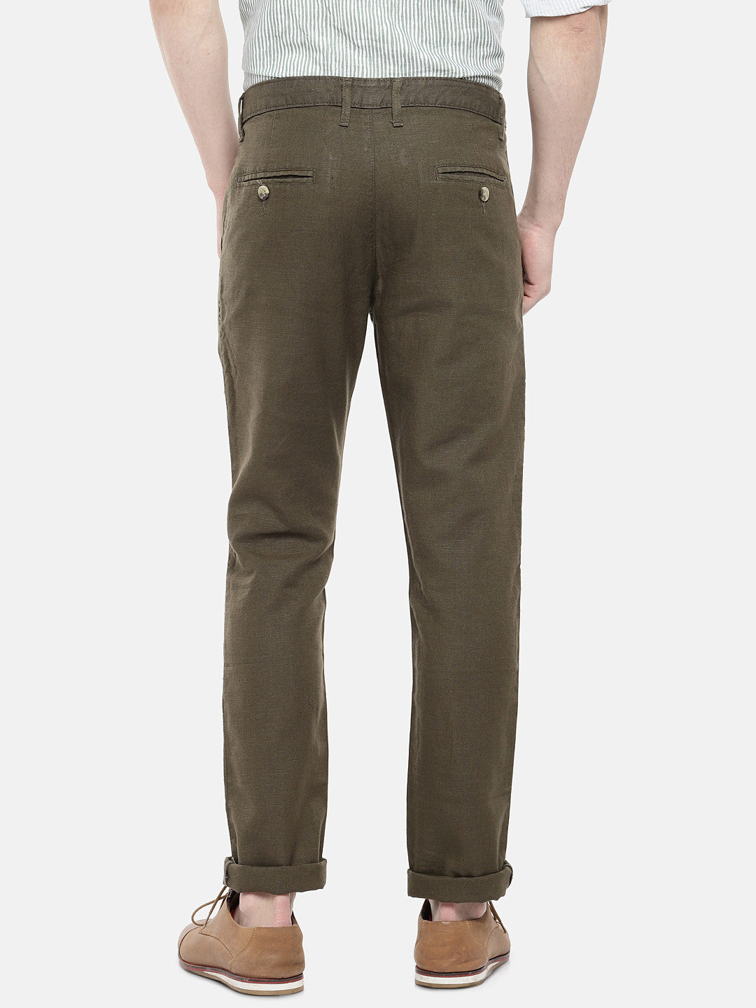 Olive Green Regular Fit Solid Regular Trousers-3