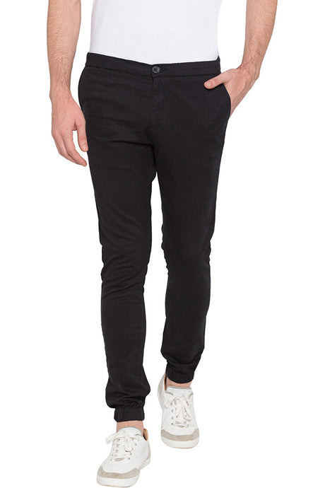 Elasticated Hem Black Trousers-1