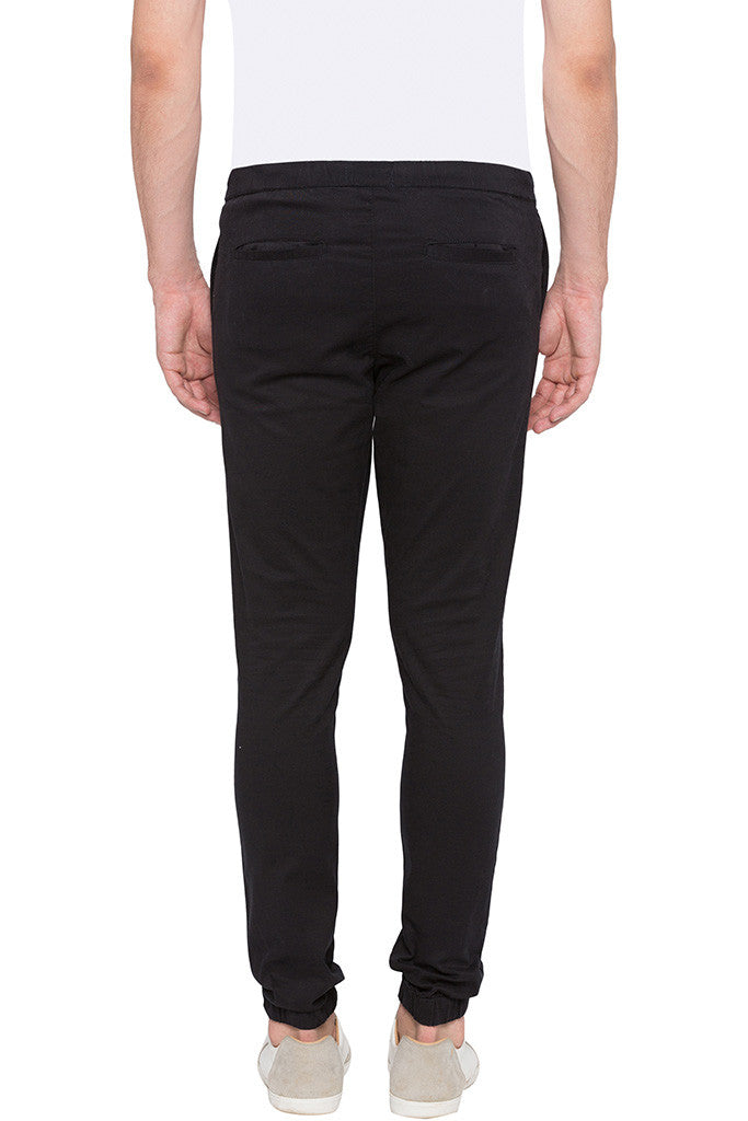 Elasticated Hem Black Trousers-3