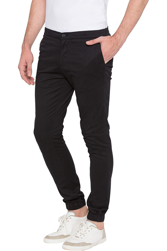 Elasticated Hem Black Trousers-4