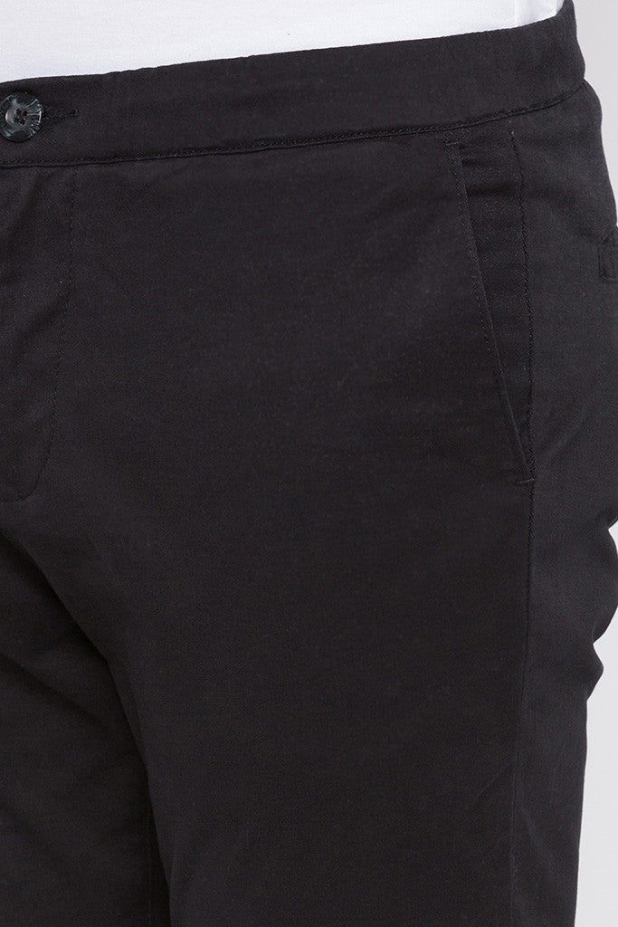 Elasticated Hem Black Trousers-5