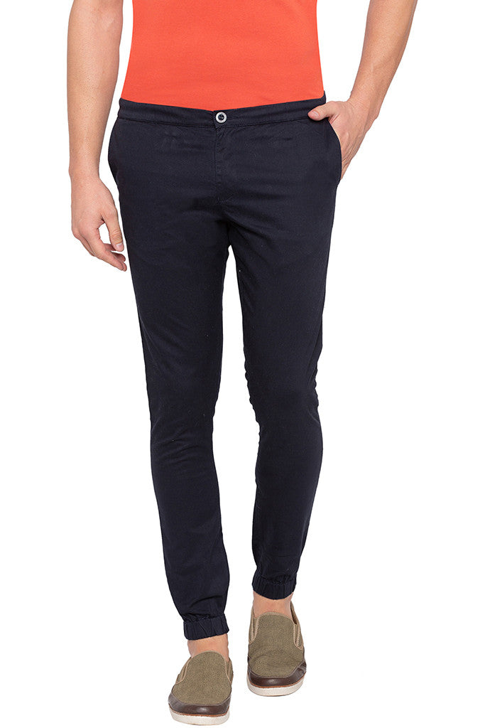 Solid Navy Blue Casual Pants-1