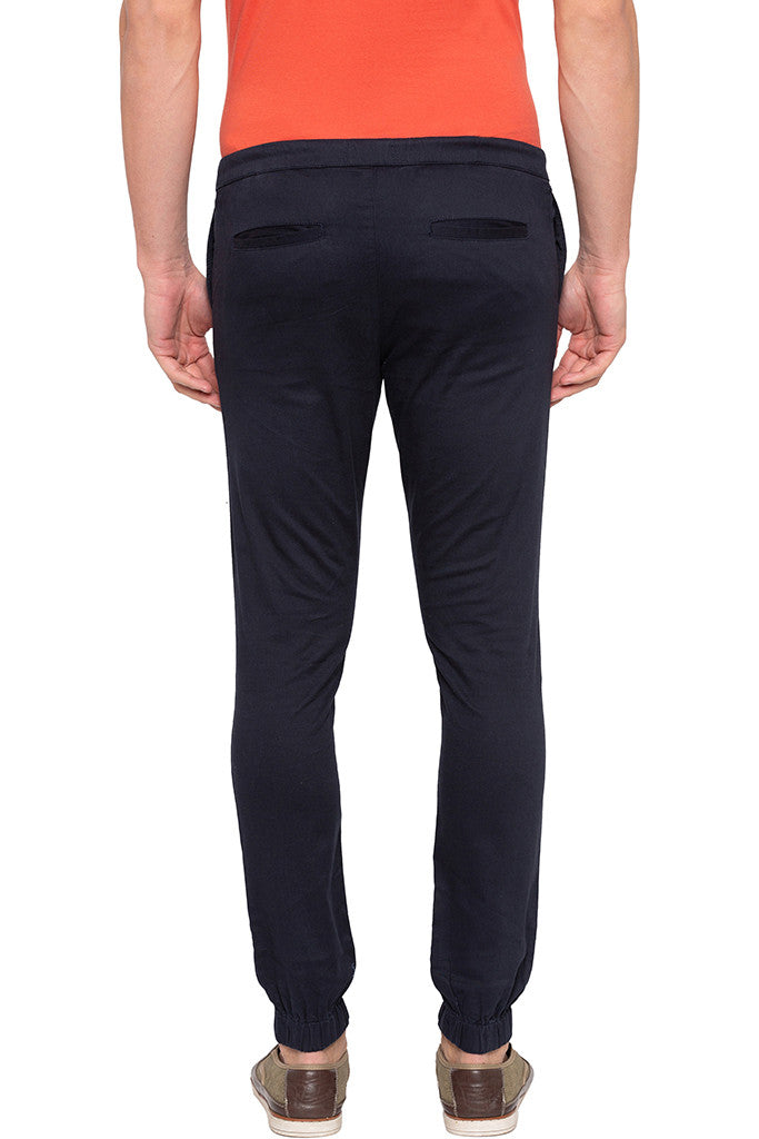 Solid Navy Blue Casual Pants-3