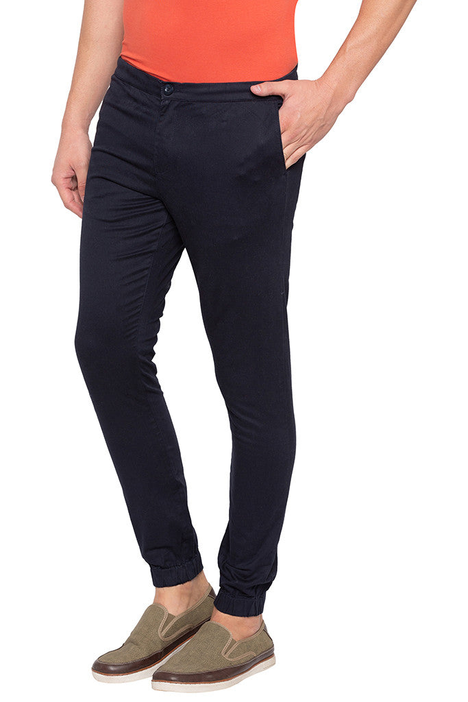 Solid Navy Blue Casual Pants-4