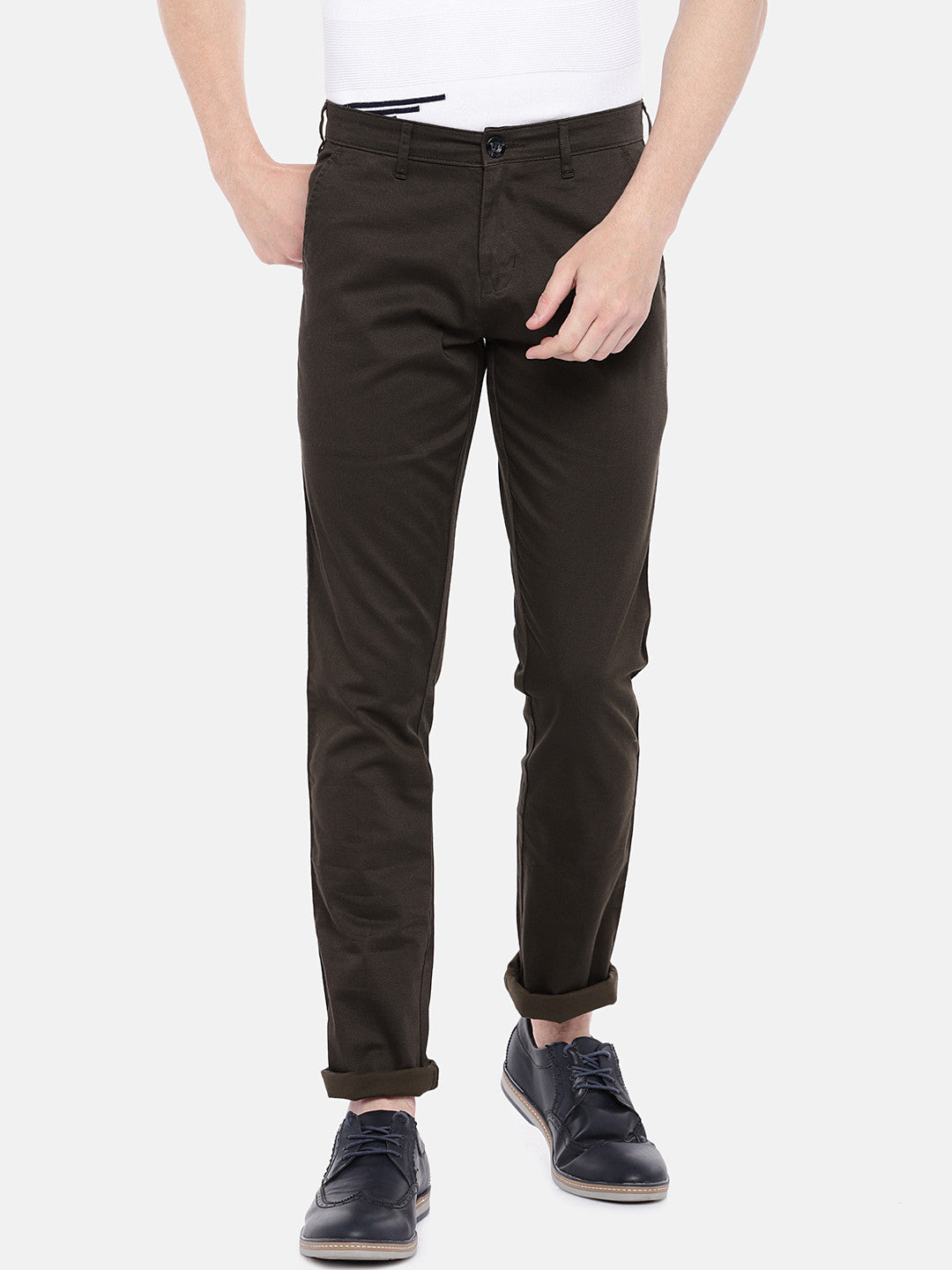Brown Regular Fit Solid Chinos-1