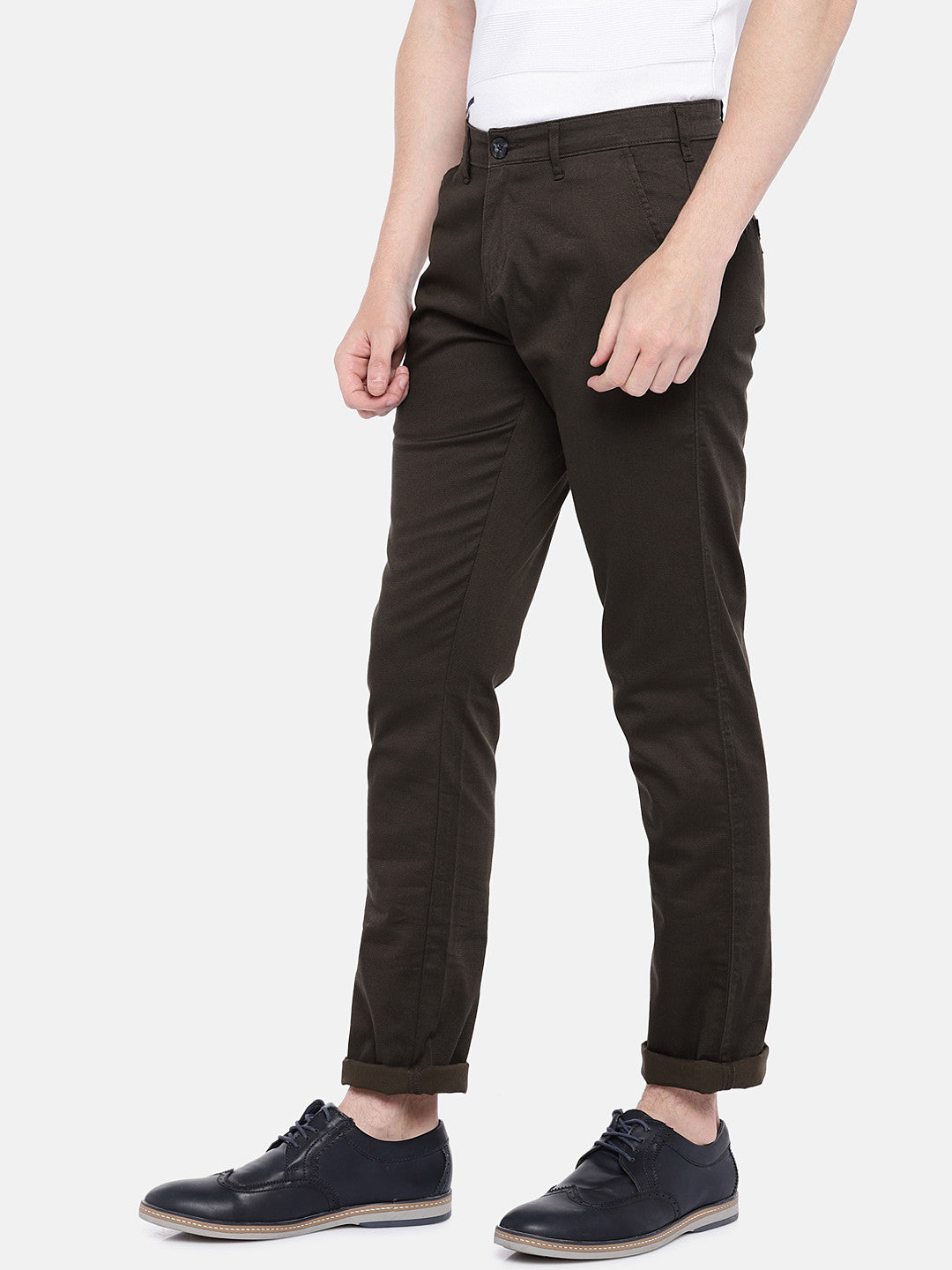 Brown Regular Fit Solid Chinos-2