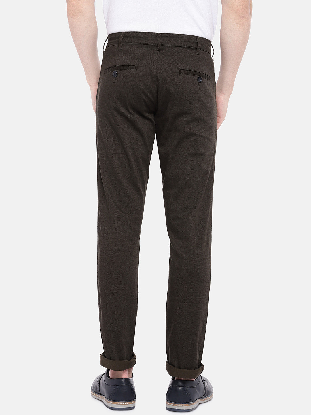 Brown Regular Fit Solid Chinos-3