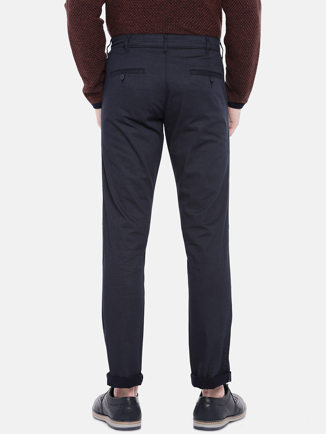 Navy Blue Regular Fit Solid Chinos-3