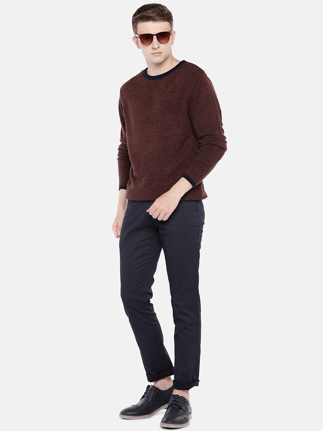 Navy Blue Regular Fit Solid Chinos-4