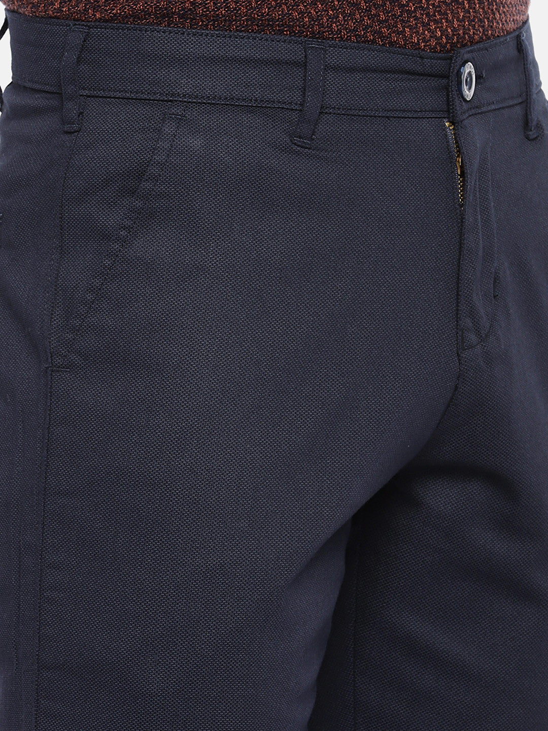 Navy Blue Regular Fit Solid Chinos-5