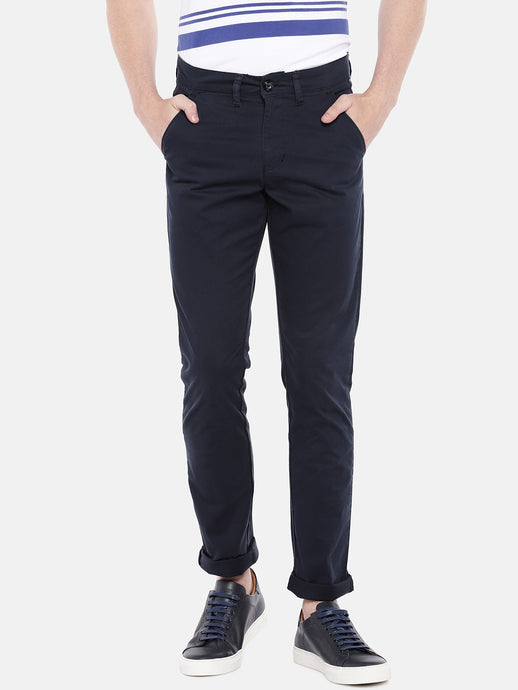 Blue Regular Fit Solid Chinos-1