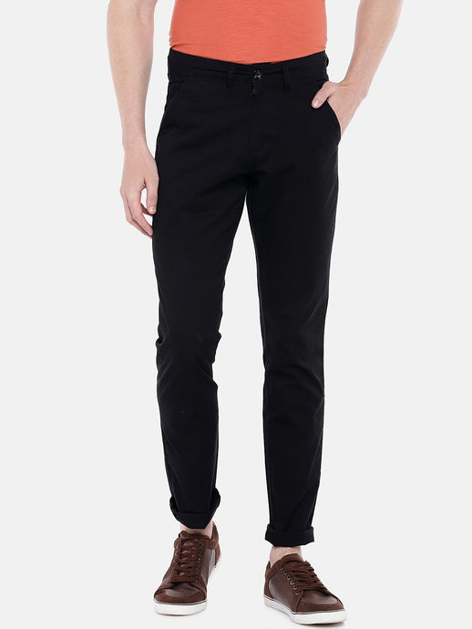Black Regular Fit Solid Chinos-1
